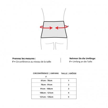 Größentabelle - Elastische Bauchgurt von GIBAUD