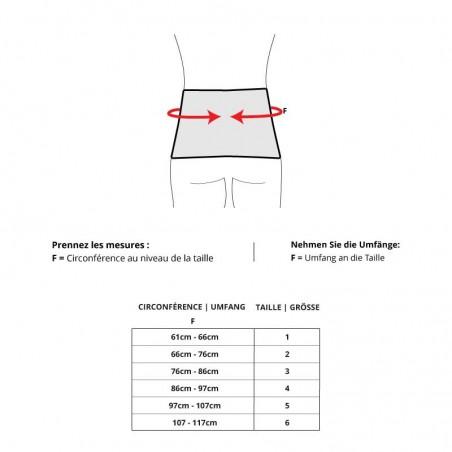 Standard Back skin - Bandage lombaire: Tableau des tailles
