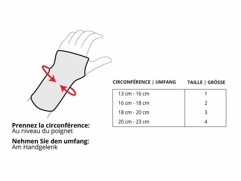 Grösse tabelle D-Ring Handgelenkbandage